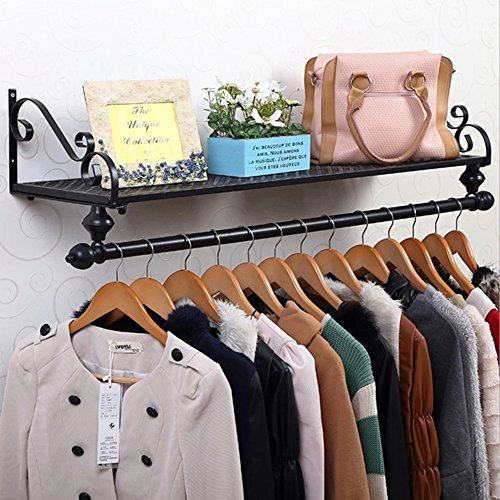 Tribesigns 4ft Wall Mount Clothes Rail Clothing Garment