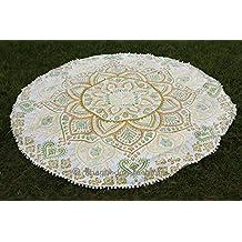 "Indian Ombre Mandala Round Tapestry- Mandala Beach Towel- Beach Yoga Throw- Circle Mandala Round Towel- Cotton Gypsy Table Cloth 70"""
