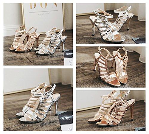 or Gold Talons 39 10 Soirée Argent Verni Chaussures Hauts 2018 Creux color Nouveau Sandales Femmes De Sexy Argent Taille Ouvert Toe Cm En Cuir Tfwvfg5qBx