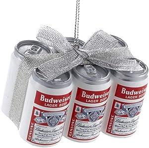 Kurt Adler Budweiser Vintage Cans with Bow Ornament #AB1151