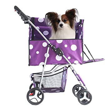 Mascota Paseante Plegable Desmontable Y Lavable Gato Perro Paquete De Coche Cuatro Ruedas Paseante para Pequeño Y Mediano Mascotas.