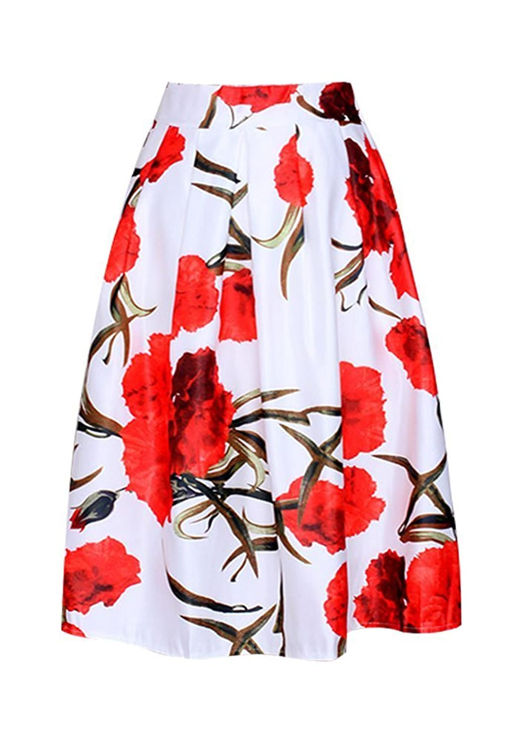 KOJHu Women's Vintage Pleated Floral Print Flared Casual Swing Skirts Red L