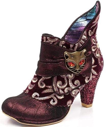 Womens Irregular Choice Miaow Blue Metallic Heeled Ankle Boots Size