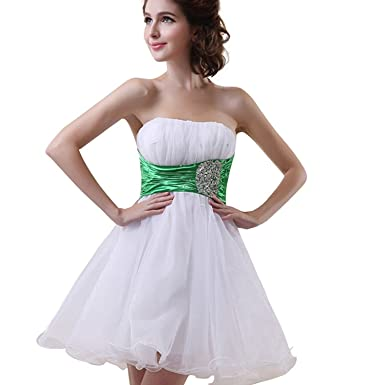 anmor Seniors Prom Dresses Short Beaded Tulle Hoemcoming Cocktail Gowns White and Green US2