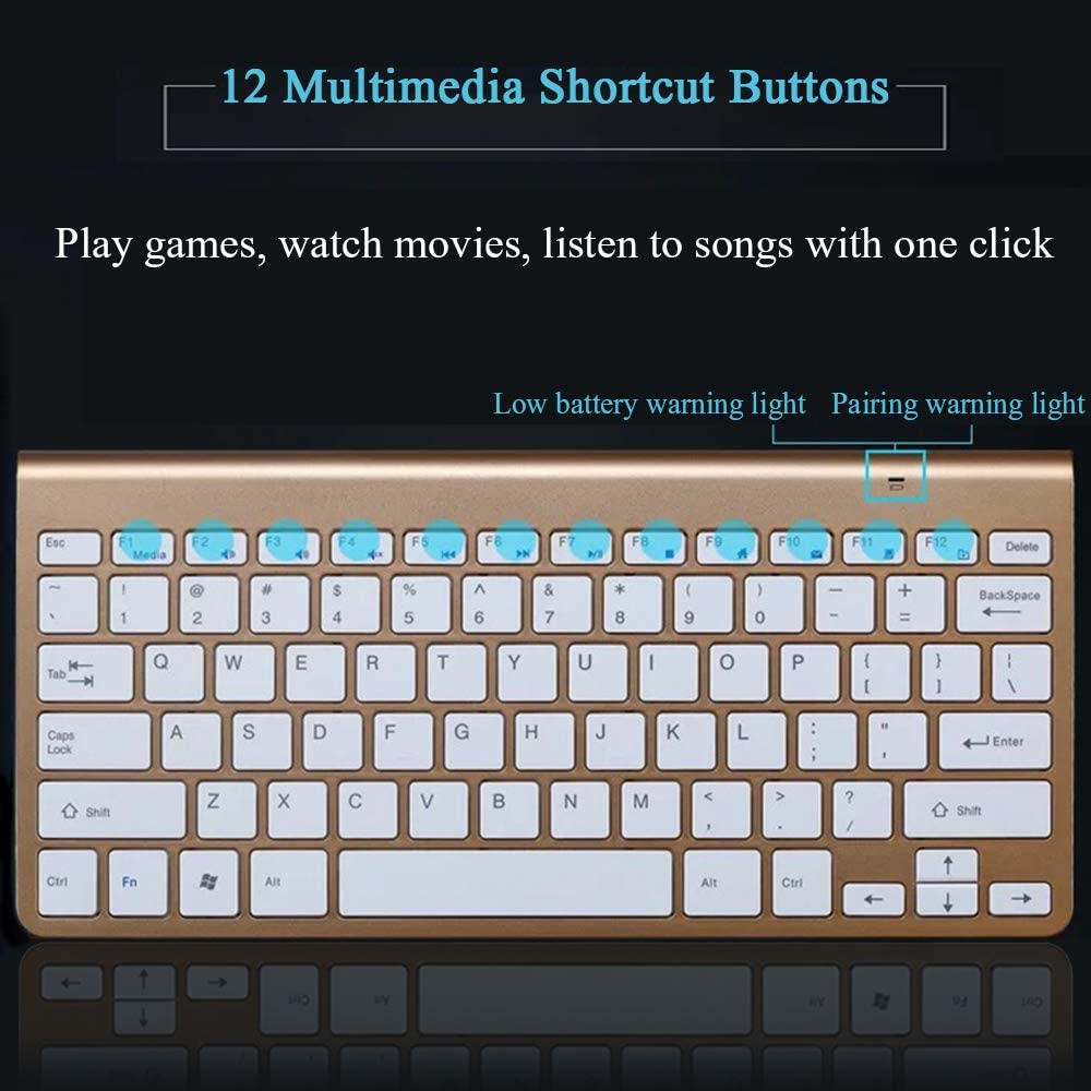 YHML Clavier Et Souris sans Fil avec Clavier Ergonomique sans Bruit Compatible avec Les Tablettes PC Black Keyboard