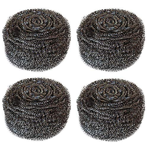 Hulless 4 Pcs Stainless Steel Sponges Scrubbers Extra Large Utensil Scrubber (2 oz Each) Metal Scouring Pads Stainless Steel Sponges Scourer Pot Brush,Kitchen Cooking Utensil Cleaning Tools,60g/pcs.