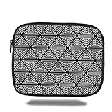 Laptop Sleeve Case,Abstract,Geometric Inner Triangles Minimalist Western Expressionism Style Boho Display,Black White,iPad Bag