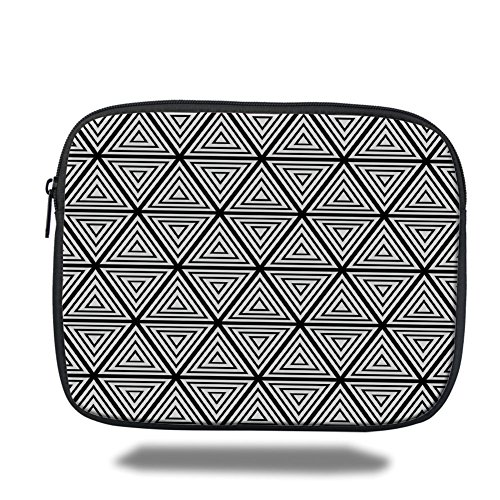 Laptop Sleeve Case,Abstract,Geometric Inner Triangles Minimalist Western Expressionism Style Boho Display,Black White,iPad Bag by iPrint