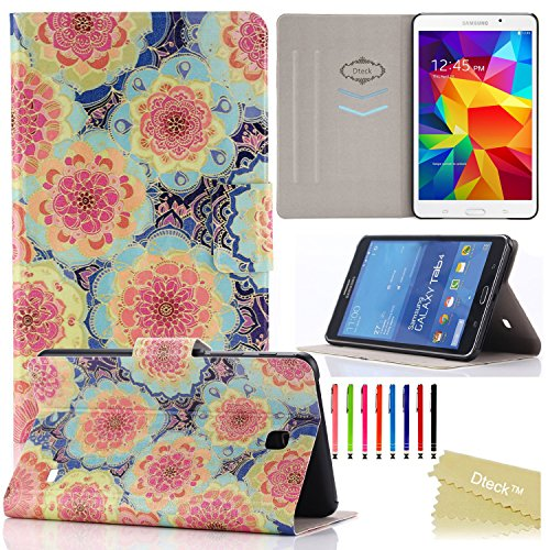 Galaxy Tab 4 7.0 Case, T230 Case, Dteck(TM) Fashion Vintage Design Flip PU Leather Cute Case [Card Slots] Magnetic Closure Stand Case for Samsung Galaxy Tab 4 7.0 inch T230/T231/T235 (1 Flowers)