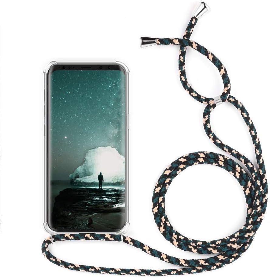 YuhooTech Funda con Cuerda para Xiaomi Mi 10 Youth, [Moda y Practico] [ Anti-Choque] [Anti-rasguños] Suave Silicona Transparente TPU Carcasa de movil con Colgante/Cadena, Camuflaje Verde