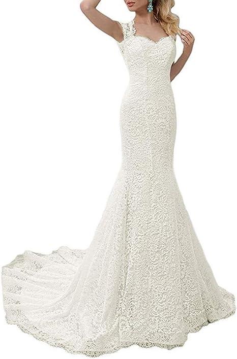Amazon.com: SIQINZHENG Vestido de sirena de encaje blanco ...