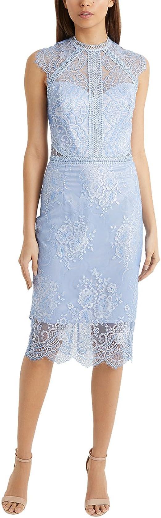 Lipsy Damen Vip Zweifarbiges Figurbetontes Kleid Mit Spitze Blau