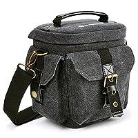 Evecase DSLR Camera Canvas Holster Bag for Canon EOS T6, T6i, T6s, T5i, T5, T4i, T3, T3i, SL1, 7D, 6D, 80D, 70D, 60D, XC10 - (Water Resistant)