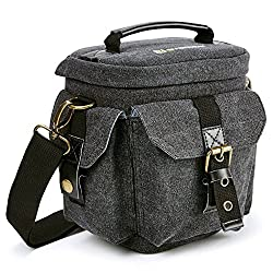 Camera Bag Evecase Compact Dslr Slr Digital Camera Holster Carrying Case - Gray Small Canvas For Compact System, Micro 43, Mirrorless, High Power Zoom Camera, Instant Camera