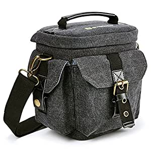 Evecase Compact DSLR / SLR Micro four Thirds Digital Camera Holster Carrying Bag Case - Gray Small Canvas
