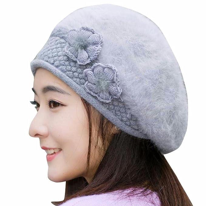 SHOBDW Mujeres de Moda Flor de Punto Crochet Sombrero Gorro de Invierno  Caliente Gorra Boina ( 109615a3094
