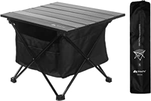 Foldable Portable Camping Tables with Easy Carry Storage Bag, Ultralight Camp Folding Side Table, Aluminum Alloy Patio Table Top Great for Camp, Picnic, Hiking, Beach, Fishing, Tailgate, Boat (S)