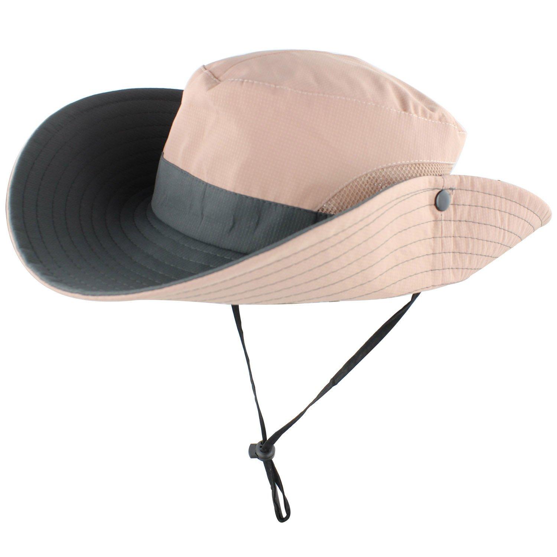 46ae16cffb83a Muryobao Women's Summer Sun Hat Outdoor UV Protection Foldable Wide Brim  Bucket Boonie Hats Beach Safari
