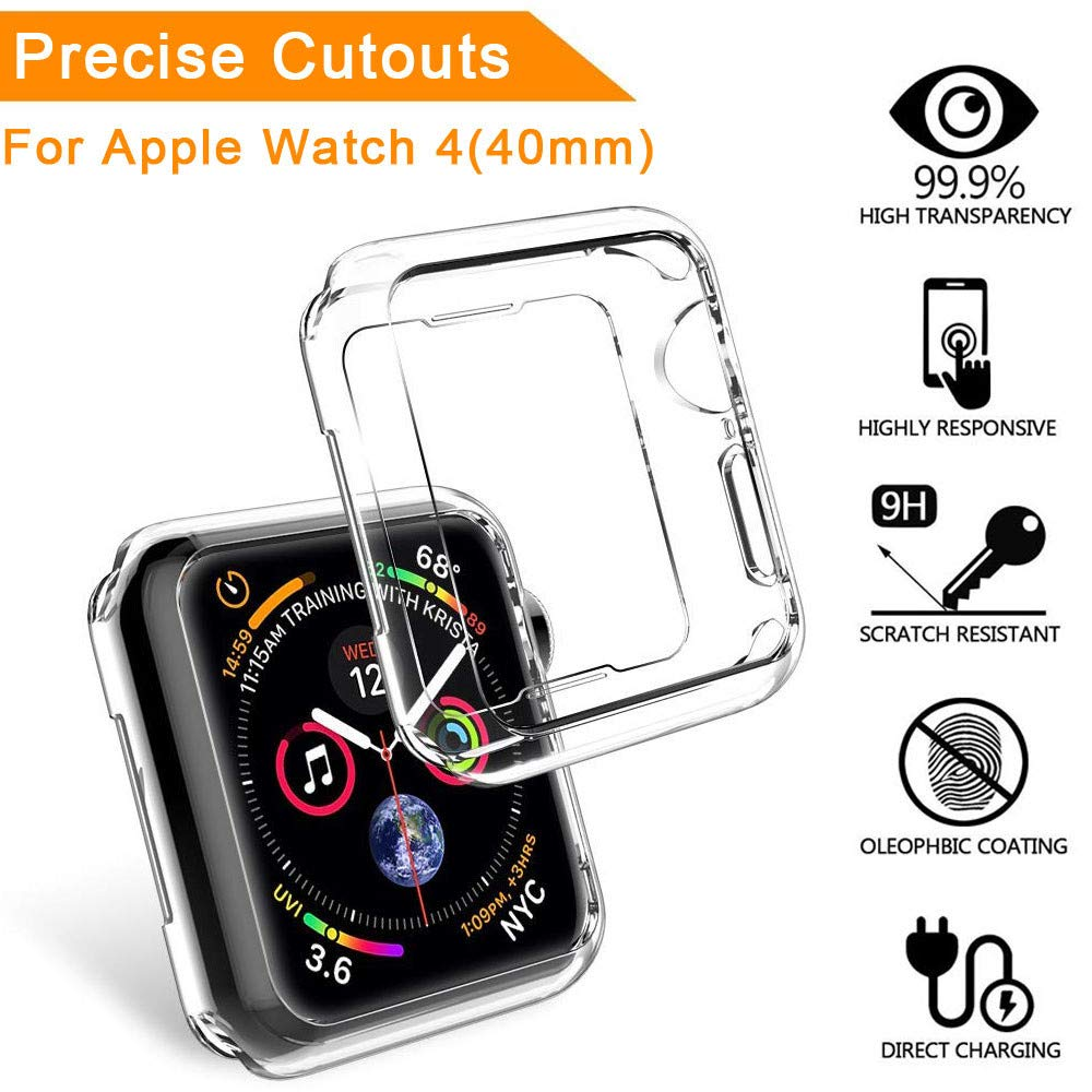 Sandistore Compatible with Apple Watch Case 40mm/44mm Series 4, Soft TPU Screen Protector All-Around Protective 0.3mm HD Clear Ultra-Thin Cover Case for iWatch Series4 40mm/44mm (40mm)