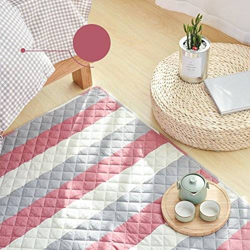 Decorative Rugs Modern Carpet Rectangle Washed Cotton mats for Bedroom Living Room Simple Nordic Thicker Coffee Table Mattress Tatami Crawler pad Non-Slip Foldable Washable-F 110x210cm(43x83inch)