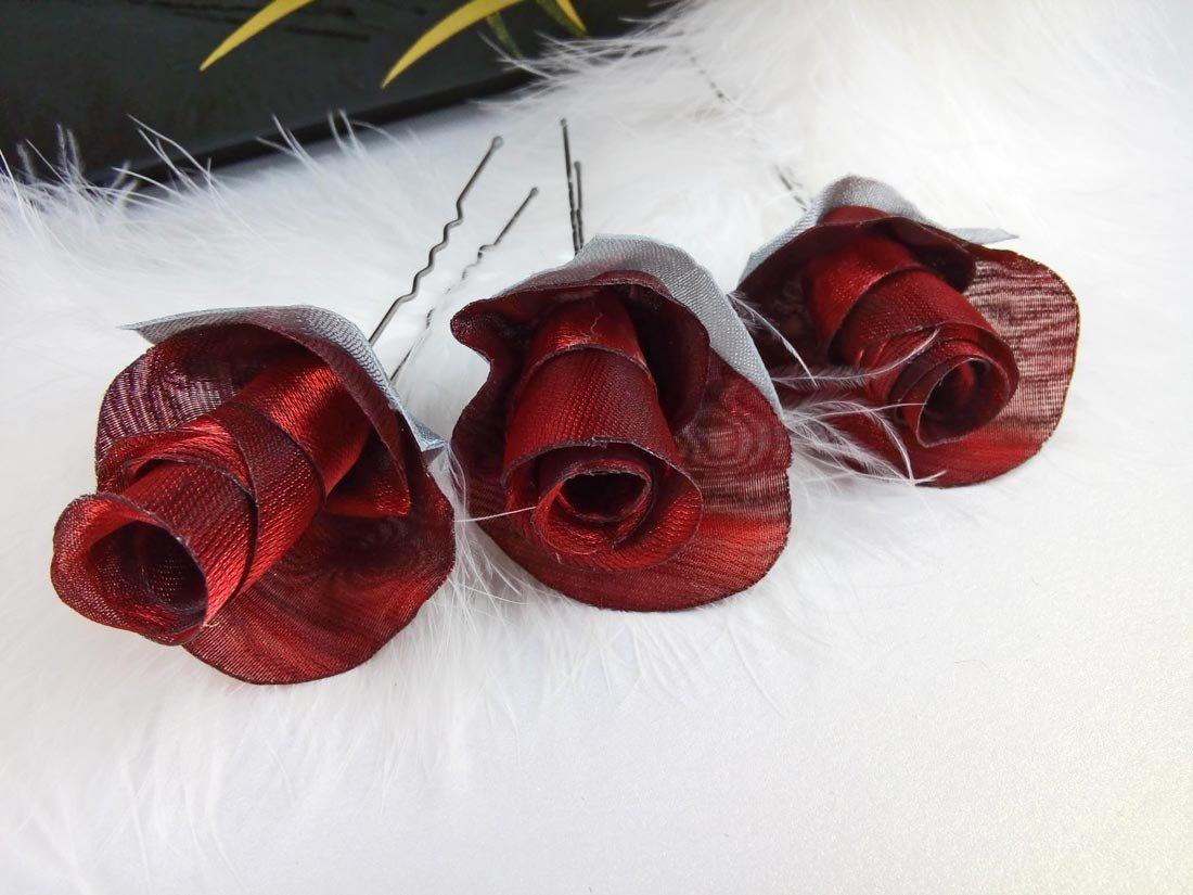 Bridal Hair Pins, SET of 3 Hair Pins With Roses Dark Red Organza