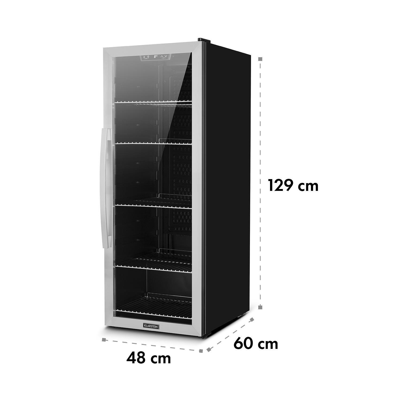 Porta in Vetro Colore Nero//Argento Minifrigorifero 201 l 41 x 117 x 46 cm Illuminazione LED interna Minibar LxAxP Klarstein Beersafe 6XL Classe A+ Minifrigo per Bevande