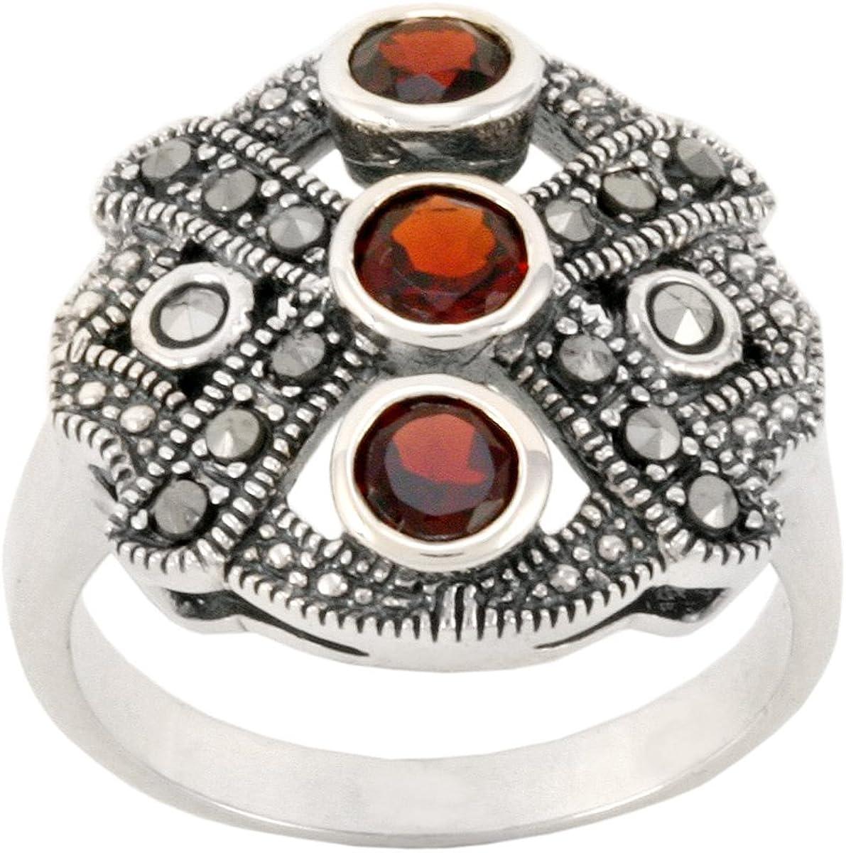 Super Nice Sterling Silver Size 10 Cut Red Corundum Stone Ring