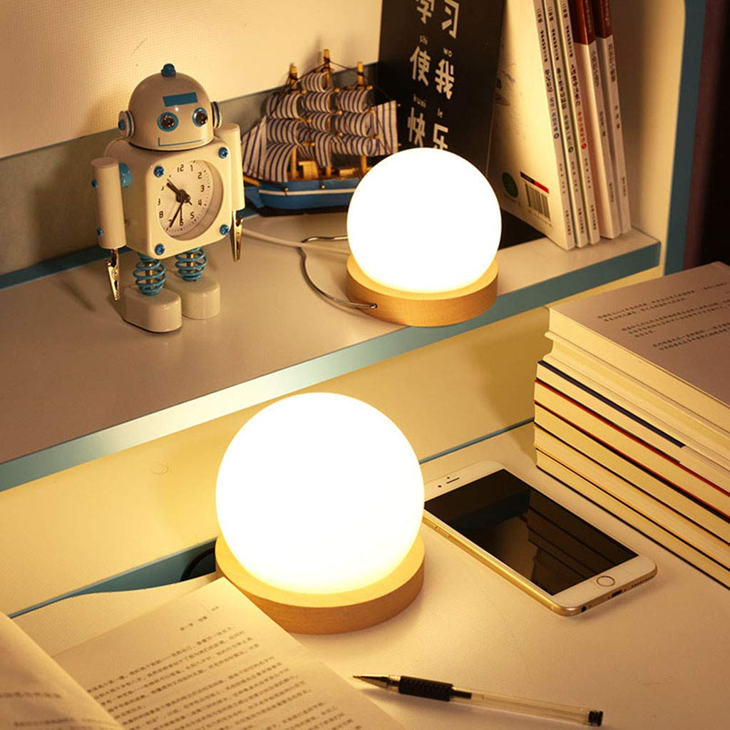 lotus.flower Creative LED Ball lamp Wooden Base USB Adjustable Brightness Color Room Decorate (Yellow) by Lotus.flower (Image #1)