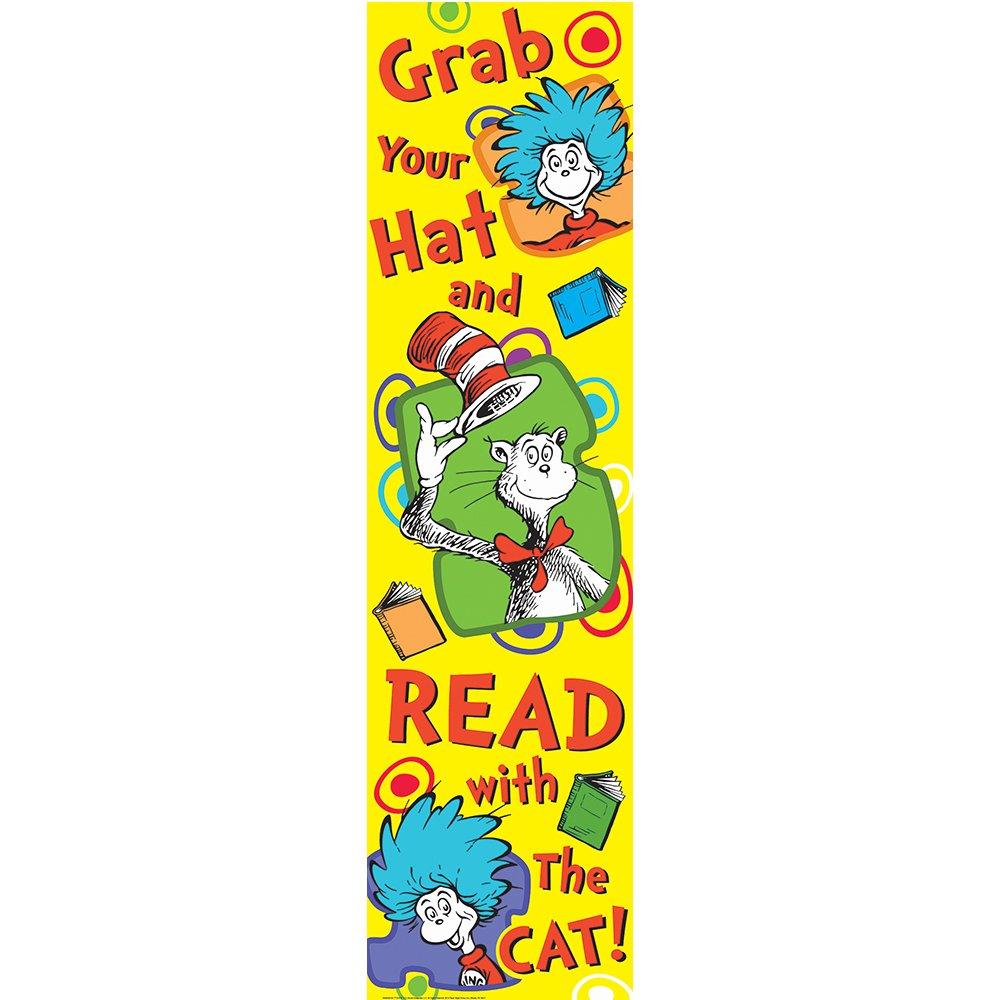 Eureka Dr. Seuss Vertical Classroom Banner, Grab Your Hat, Measures 45 x 12 by Eureka