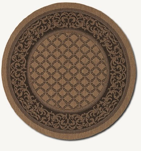 Couristan Cocoa Garden Lattice (Couristan 1016/2000 Recife Garden Lattice Cocoa/Black Rug, 8-Feet 6-Inch Round)