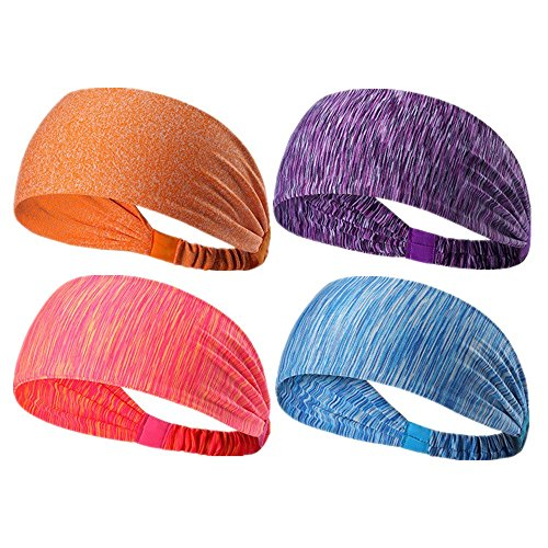 Ligart 4 Pcs Sports Sweatbands Headbands Moisture Wicking Non Slip Head Bands Head Scarf Soft, Breathable and Stretchy for Yoga,Cycling,Running,Fitness Exercise and other sports activities