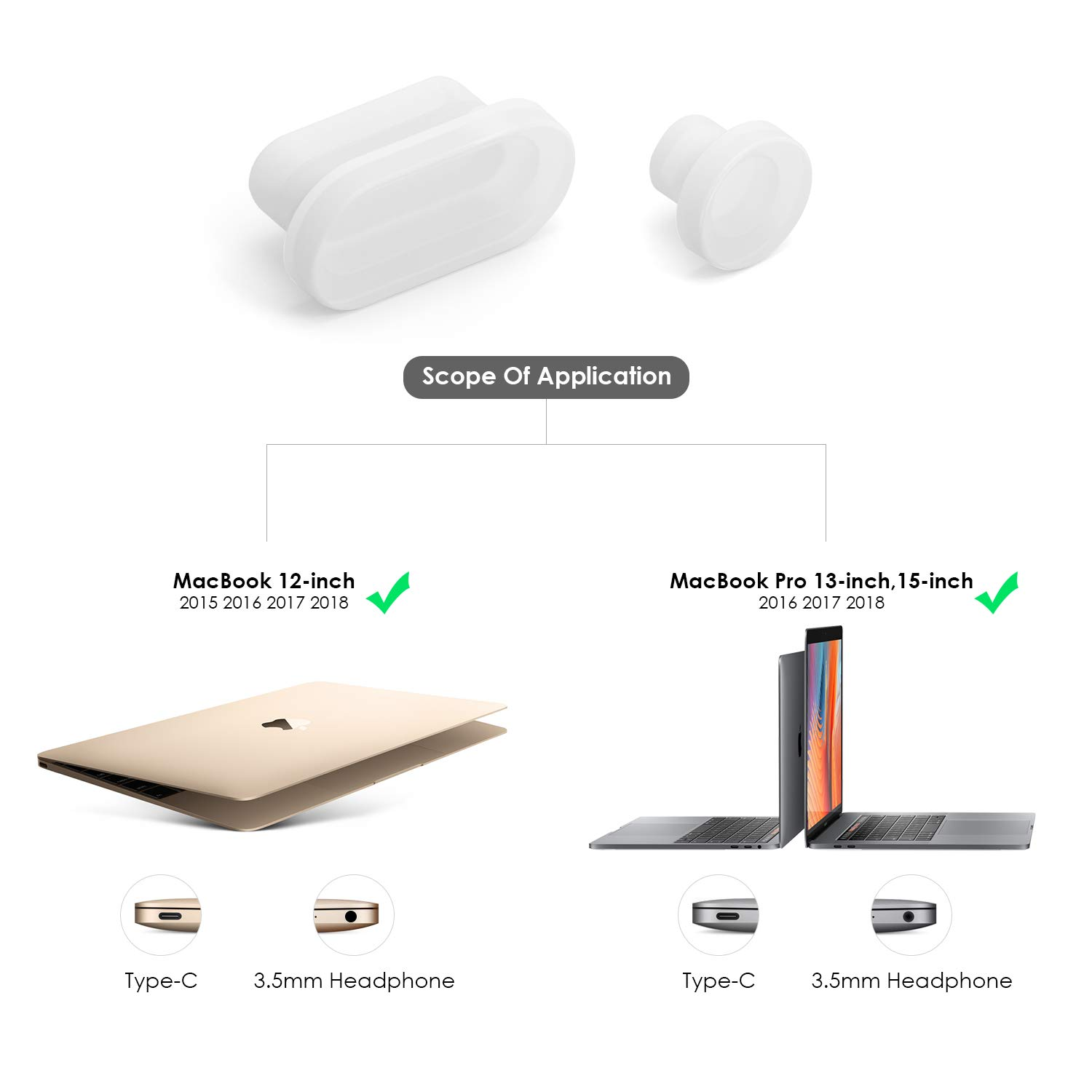 Red, 5 Pack 2018 New Mac Air LENTION Silicone Rubber Anti-Dust Port Plugs Compatible with MacBook 12 New MacBook Pro 13//15 with Thunderbolt 3 Ports Phones /& Tablets USBC USB Type-C