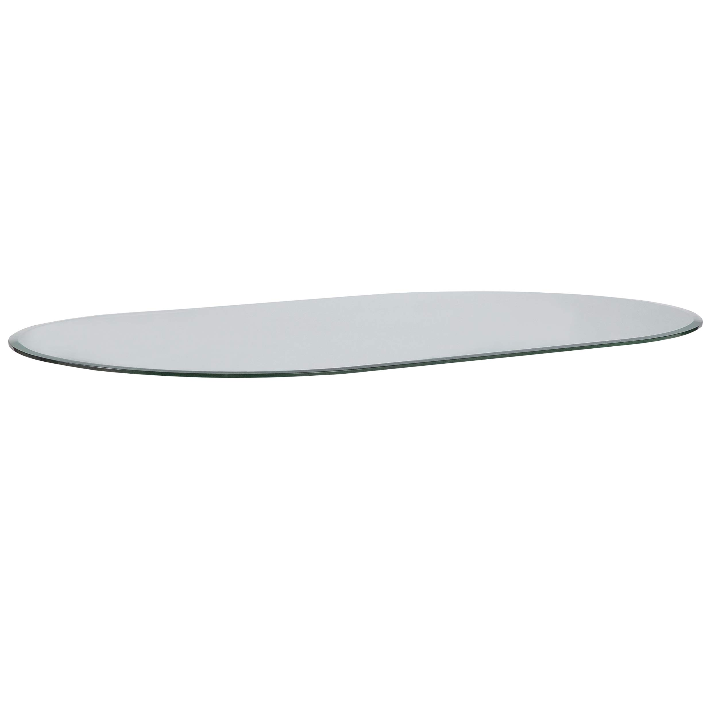 Milan Glass Top, 28'' x 48'' Racetrack Oval, Clear by MILAN