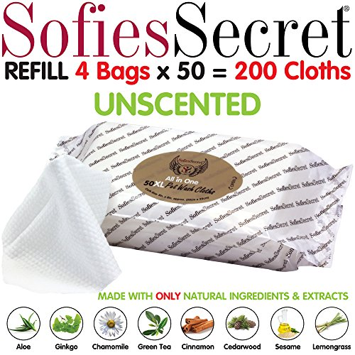 SofiesSecret XL PET Wipes, All in One Grooming, Refill, 200 Count, for Paws, Coat, Skin, Face, Ears and Teeth, 100% Natural & Organic Extracts, Extra Thick, Extra Large Cruelty Free and Vegan