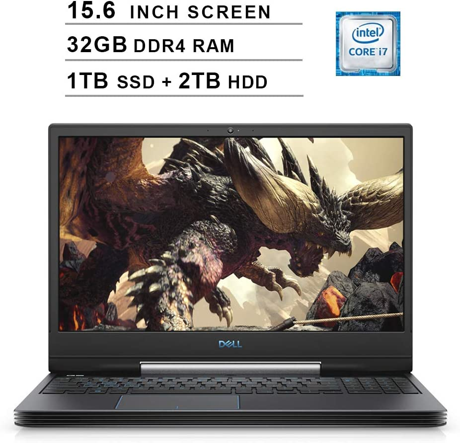 2020 Dell G5 15 5590 15.6 Inch FHD Gaming Laptop (9th Gen Intel 6-Core i7-9750H up to 4.5 GHz, 32GB RAM, 1TB SSD + 2TB HDD, NVIDIA GeForce RTX 2060, Bluetooth, WiFi, HDMI, Windows 10) (Black)