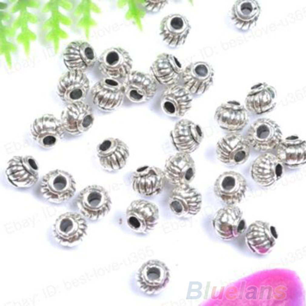 Wholesale Lots 100Pcs Silver Plated Round Spacer Beads DIY Charms Jewelry Making
