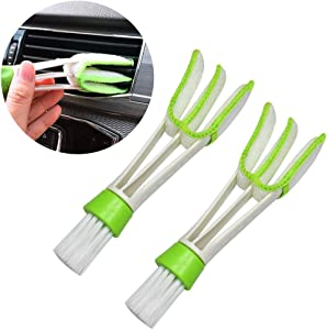 HUIQIAODS Multifunction Cleaning Brush for Car Air Vent - 2 Microfiber Sleeves Blinds Cleaner Tools for Keyboard Window Leaves Blinds Shutter