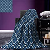 smallbeefly Quatrefoil Digital Printing Blanket Ethnic Arabian Tessellation Theme Entwined Curved Motifs of Marrakesh Tile Art Summer Quilt Comforter Blue White