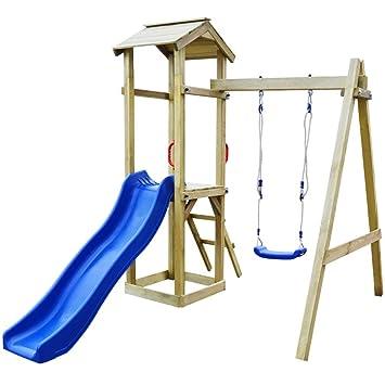 vidaXL Parque Infantil con Tobogán Escalera y Columpios Madera 237x168x218 cm: Amazon.es: Juguetes y juegos