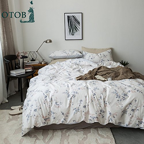 ORUSA Blue Floral 3 Pieces Duvet Cover Set Queen 100 Cotton Twin with Zipper Closure and 4 Corner Ties Blue Floral Duvet