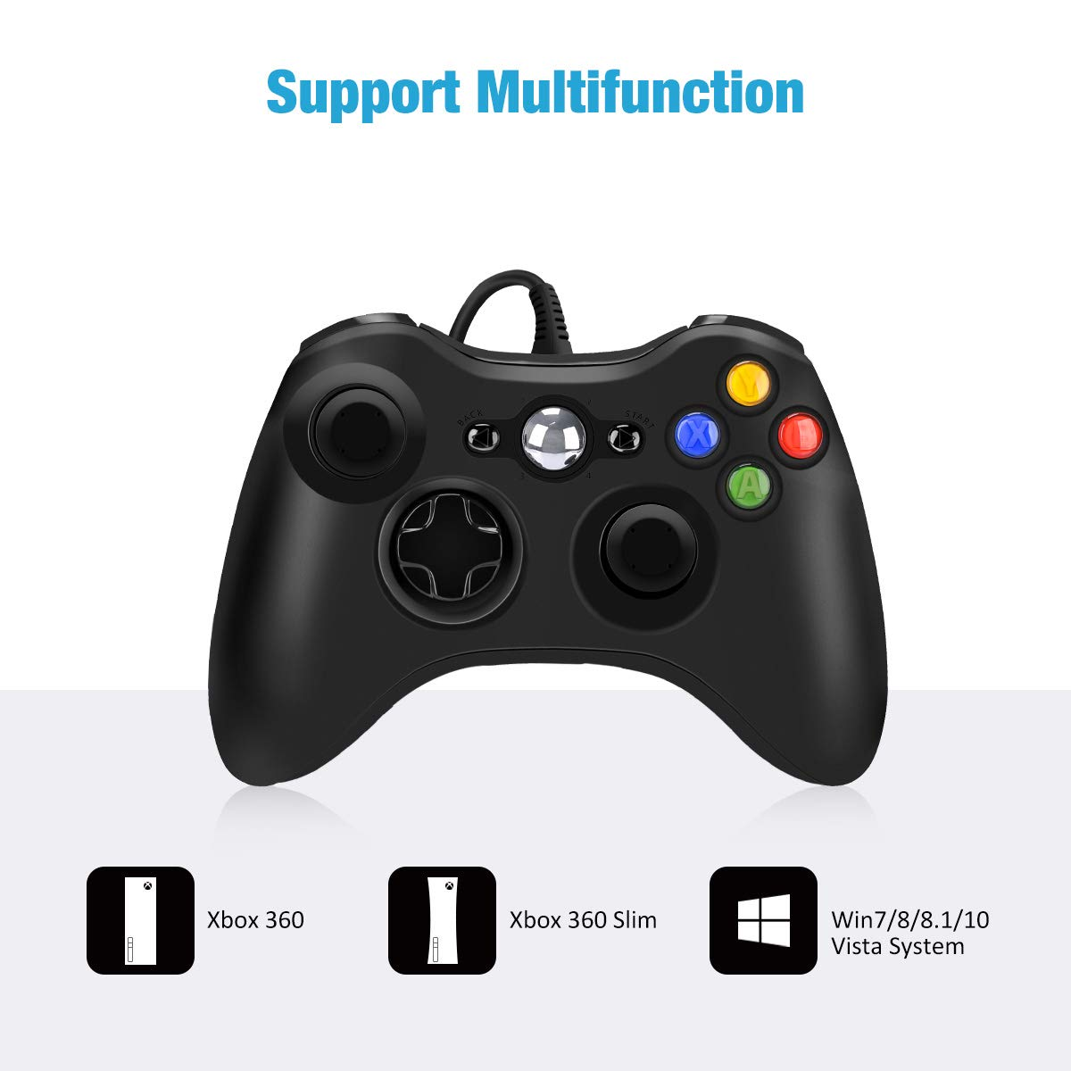 Xbox 360 Wired Controller for Microsoft Xbox 360, Game Controller with Dual-Vibration Turbo for Xbox 360/360 Slim and PC Windows 7,8,10 - Black