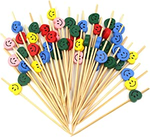 100 Pcs Disposable Bamboo Sticks Fruit Stick Sandwich Appetizer Barbecue Cocktail Selection of Long Toothpicks, Suitable for Birthday Valentine's Day Party Food Decoration, 4.7 Inch(Smiley)