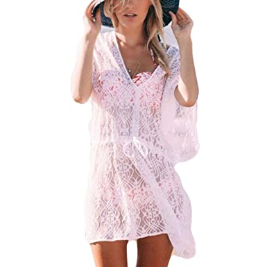 542ed8d6ffd7 HOMEBABY Women Lace Beach Bathing Cover Up - Girls Beach Dress Long Suit  Bikini Swimwear Beach Swimsuit Smock Holiday Knitted Crochet Cover UPS  Summer ...