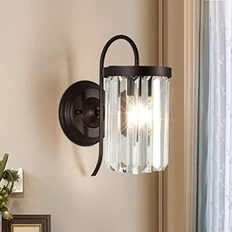 newest a494d 9699a Modern Crystal Wall Sconces Lighting Fixture - Zgear Black Iron Single Wall  Lamp with Clear Glass Prisms for Dining Room, Bedroom Bedside, Living ...
