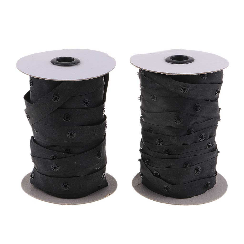 50 Yard Resin Snap Tape fit for Duvet Garment Cushion Covers Strap Fix (Black) by ButyYI