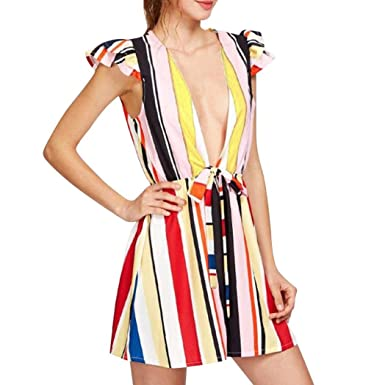 b5ce3e499db Longay Women Rainbow Deep V Neck Stripes Romper Jumpsuit Dress Summer Mini  Short Dress (S