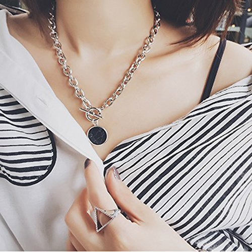 Generic Korean _twill_marble_wafer_processing_metal_ chain _leisure_temperament_ fashion _exaggeration_ short necklace Pendant bracelet