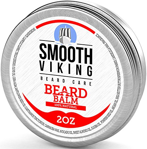 Beard Balm With Shea Butter & Argan Oil – Leave in Wax Conditioner for Men – Styles & Strengthens Hair – 2OZ – Smooth Viking