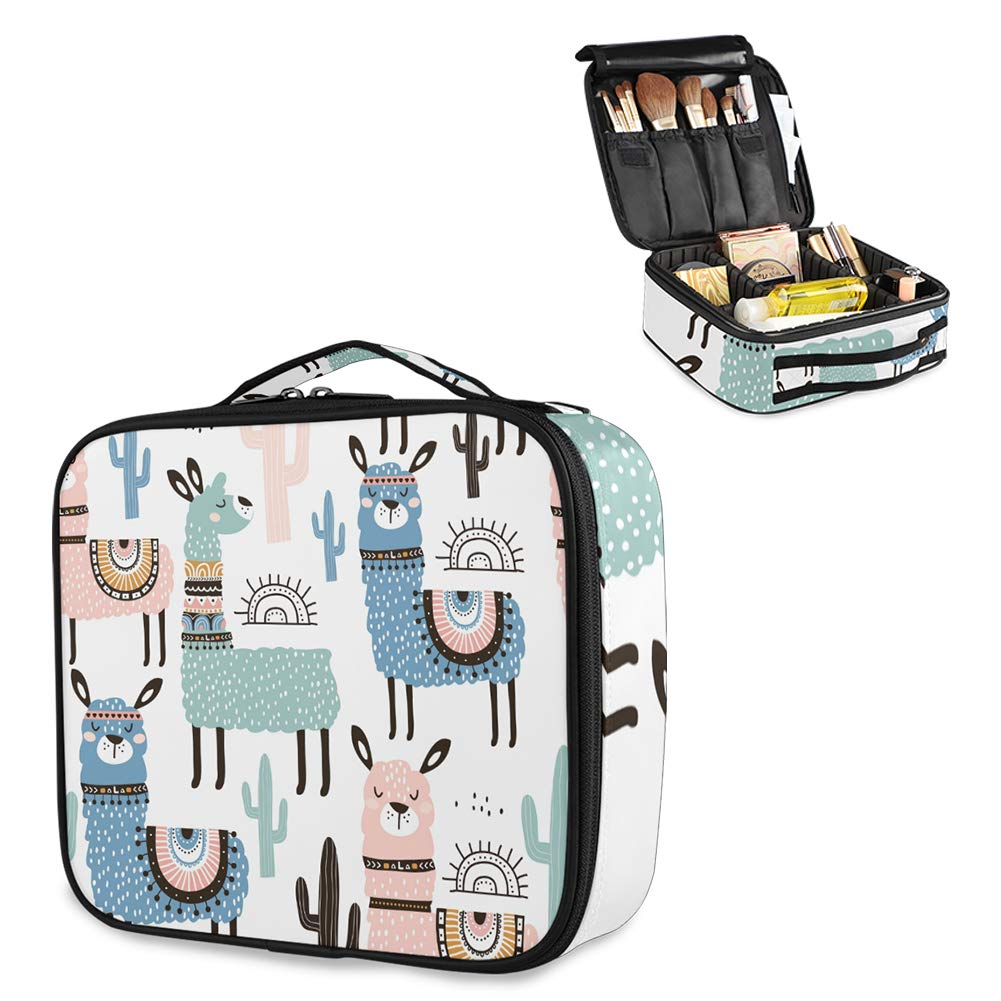 Travel Makeup Bag, Cute Makeup Case Bag Large, Llama Makeup Bag with Adjustable Dividers