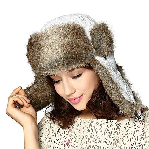 Kenmont Women Winter Warm Faux Fur Ski Outdoor White Trapper Aviator Hat Bomber Cap